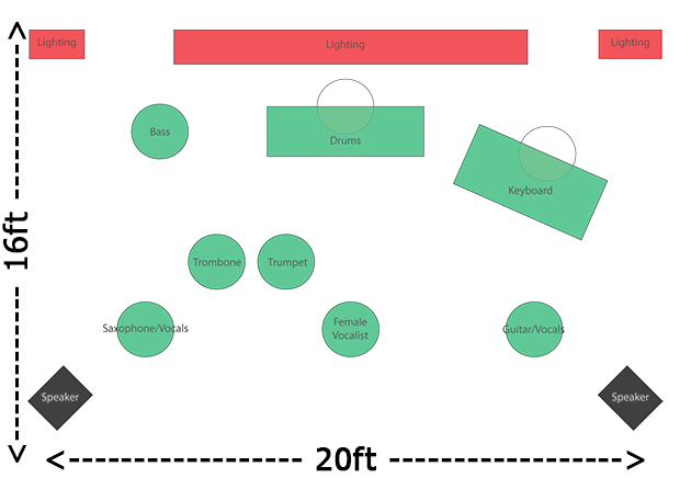 Atlanta Band of Gold - 8 Piece Stage Layout